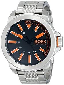buy Boss Orange Men'S 1513006 New York Stainless Steel Bracelet Watch With Black Dial
