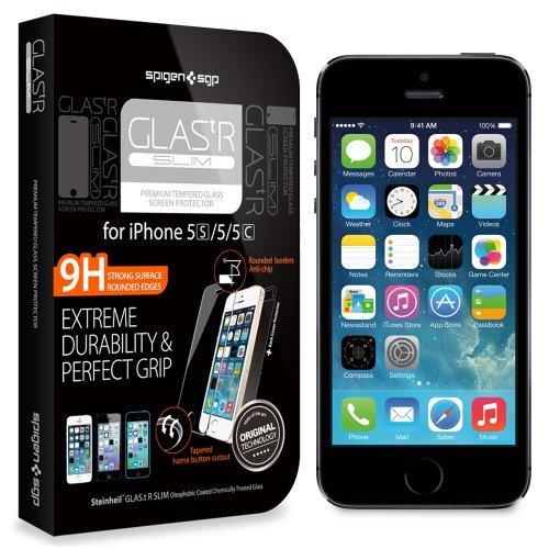 国内正規品SPIGEN SGP iPhone5/5S/5C シュタインハイル GLAS.t R スリム リアル スクリーン プロテクター(背面保護フィルム同梱)SGP10111