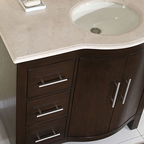 Silkroad Exclusive Cream Marble Top Off Center Single Sink Bathroom Vanity With Cabinet 36 Inch