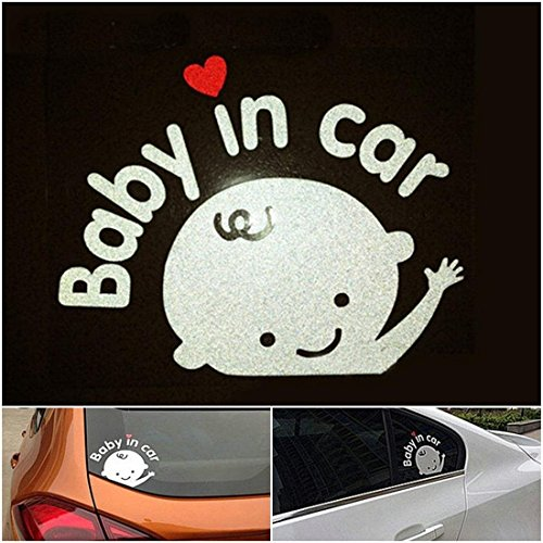 1 Pcs Hair-raising Modern Baby In Car Sticker Sign Window Logo Auto Waving Decal Vinyl on Board Boy Style Colors White