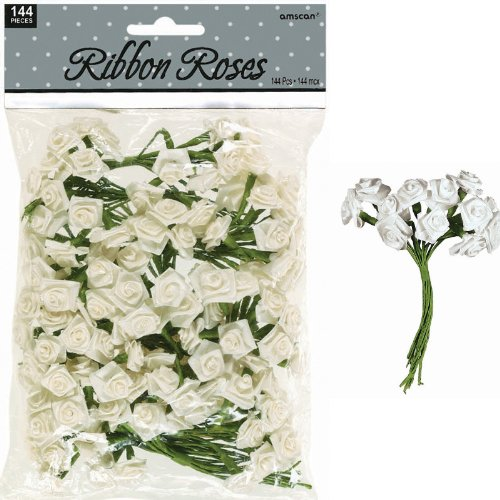 Ivory Ribbon Roses (144 count)