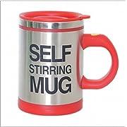 Gaobei Press Button Battery Operated Self Stirring Coffee Mug, Red