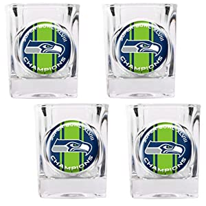 NFL Seattle Seahawks Super Bowl Champ Shot Glass Set (4-Piece) by Great American Products