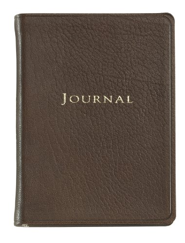 Graphic Image Small Travel Journal, Goatskin Leather, Mocha (TJSMRBLGTIMOC)