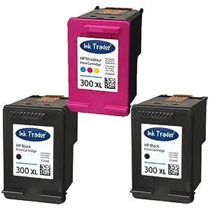2x HP 300XL Black & 1x 300XL Tri-Colour (High Capacity) Remanufactured Printer Ink Cartridges For use with HP Envy 100 D410a 110 eAIO 120 eAIO Printers by Ink Trader