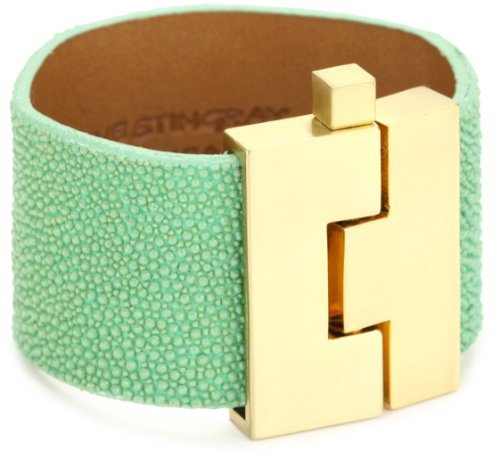 Leighelena Stingray Sea Foam Wide Buckle Bracelet