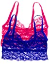 Anemone Womens Lace Elastic Sheer Bralettes 2 Pack