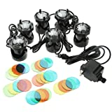 6 Set 12 LED Submersible Underwater Fountain Spot Aquarium Pond Light Pool Lamp 110V