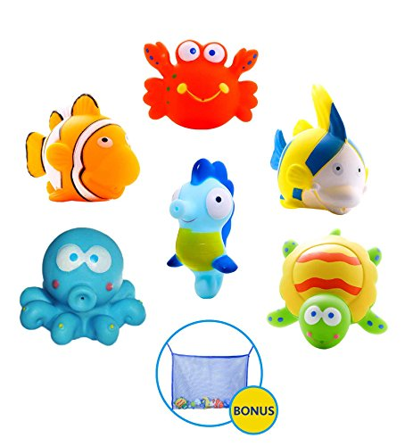Large Educational Water Squirties Ocean Animals. 6-Pack. Bath Organizer Included. Fun Bathtub Mildew Resistant Floating Squirter Toys for Baby, Toddlers, Kids. (Squishy Sand Play Tray compare prices)