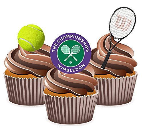 Wimbledon Tennis Mottoparty Essbar Stand-up Cup Cake Topper (Pack von 12)