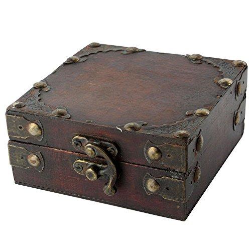 niceEshop(TM) Women Brown Retro Old Stye Unique Wooden Jewelry Box Case
