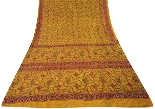 tessuto-vintage-indiano-paisley-stampato-pura-seta-giallo-saree-ethnic-sari-craft