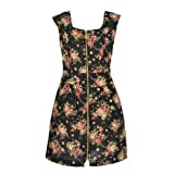 Banana Flame Floral Zip Dress