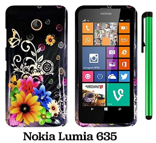 Nokia Lumia 635 (Us Carrier: T-Mobile, Metropcs, And At&T) Premium Pretty Design Protector Cover Case + 1 Of New Assorted Color Metal Stylus Touch Screen Pen (Yellow Pink Chromatic Flower Black Silver Butterfly)