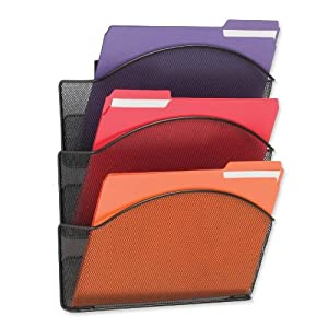 Safco Onyx Steel Triple Wall Pocket, Letter, Black, 12 x 3 1/4 x 17 1/4