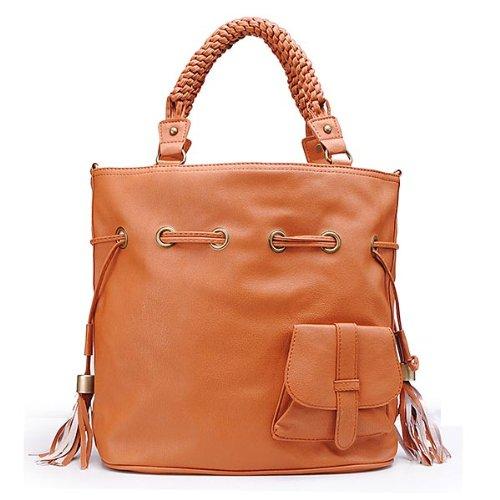 Women Brown Bucket Bag Handbag Shoulder Bag