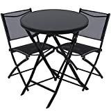 3点セット ガーデンテーブル&チェア2脚セット 折りたたみ 強化ガラス天板 椅子 いす ブラック〔丸型〕