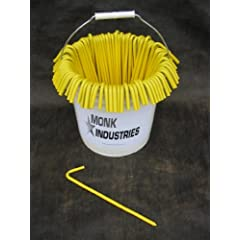 Monk Industries brand Bucket of Steel Tarp Stakes (Yellow) 31210BYLBCKT by Monk Stakes