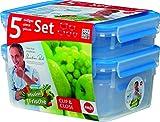 EMSA 5 Piece 0.25/ 0.55/ 1.00/ 1.20/ 2.30 Litre Clip and Close Food Storage Container Set, Transparent