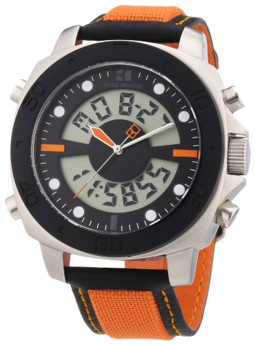Hugo Boss Boss Orange - Reloj digital de cuarzo para hombre con correa de nylon, color multicolor