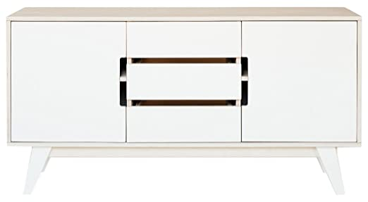 RADIS HUH Sideboard with 3-Drawers and White Doors, 140 x 48 x72 cm, White