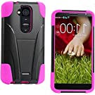 myLife Bright Mulberry Pink and Black {Two-hue with Stand Design} 2 Layer Neo Hybrid Case for the LG G2 Smartphone (External Rubberized Hard Safe Shell Piece + Internal Soft Silicone Flexible Bumper Gel)