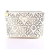 Makeup Bag, Wuhua Gold Pattern Cosmetic Bag with Zipper, Toiletry/Travel Bag for Brushes Jewelry Accessories Collection, Single Layer Storage Bag for Women (Color: white, Tamaño: 10.6