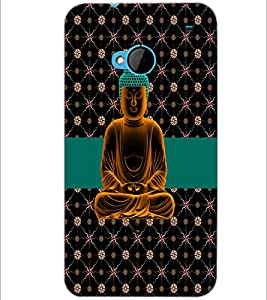 PrintDhaba Lord Buddha D-5084 Back Case Cover for HTC ONE M7 (Multi-Coloured)