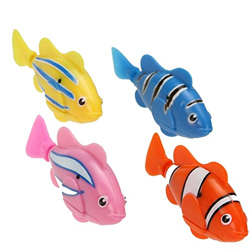 Muchbuy 2014 Newest 4Pcs Color Novel Robo Fish Electric Toy Pet Fish With Aquatic Gift For Kids Children-Activated Robotic Fish That Swims