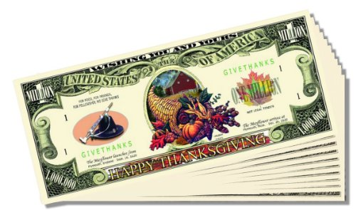 Thanksgiving Novelty Million Dollar Bill - 25 Count with Bonus Clear Protector & Christopher Columbus Bill - 1