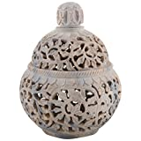 Freshings Gaurara Carved Box Pot Shaped With Round Lid (Multi-Coloured, 12.6 Cm X 12.6 Cm X 17.8 Cm)