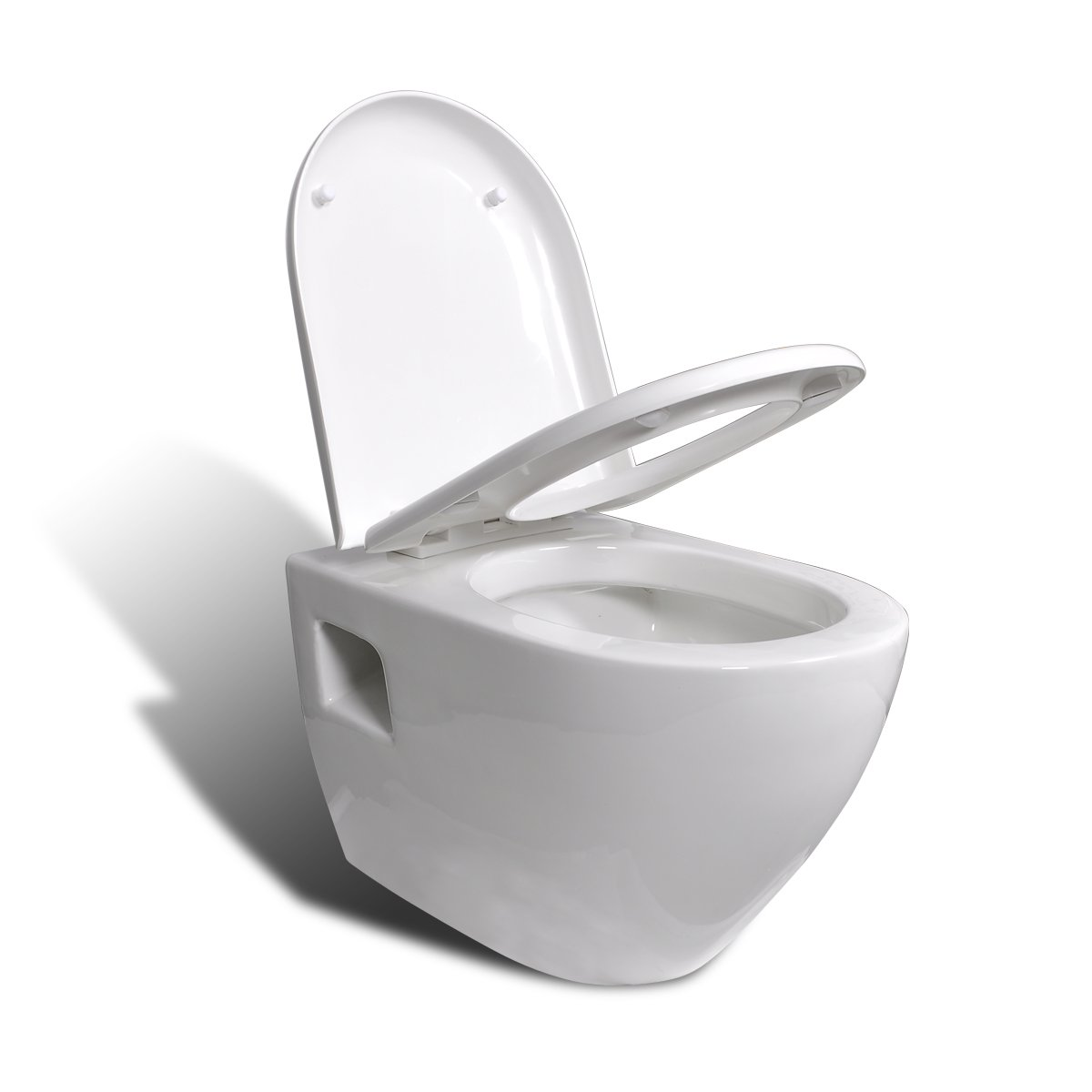 EDLE DESIGN WANDHÄNGE WC/TOILETTE INKL. SOFT CLOSE WC SITZ WEIß NEU   Überprüfung und Beschreibung