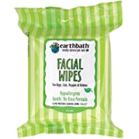 Earthbath Facial Wipes Pouch For Dogs, Cats, Puppies And Kittens (6 Pack), 25 Wipes