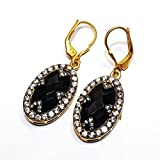 Admyro-Cut Black Onex with Natural CZ Cut 925 Silver Girls Earrings- AZE035
