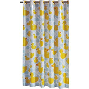 Rubber Ducky Hook On PEVA Shower Curtain Hookless Blue Yellow Wh