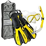 Mares Volo One Marea Set Unisex Mask, Snorkel Fin, Yellow-MD