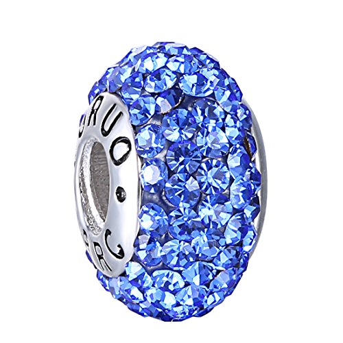 Boruo 925 Sterling Silver Czech Crystal Sapphire Glass Ball Charms Beads Spacers September Birthstone Top Quality Threaded Core Charm Fit Pandora Bracelets.
