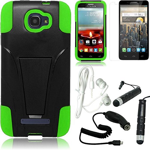 [Stop&Accessorize] Black Green Dual Layer Fitted Cover T Kickstand Case For Alcatel One Touch Fierce 2 + Free Accessory Kit