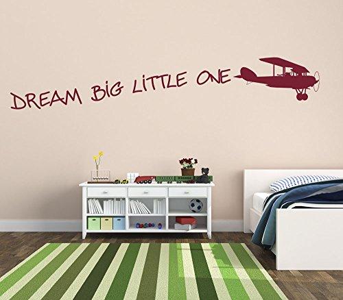 dream-big-little-one-con-vintage-avion-moda-premium-vinilo-pared-arte-adhesivo-color-mate-rojo-vino-