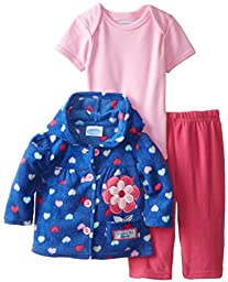 BON BEBE Baby-Girls Newborn Watch Me Grow Micro Fleece Hooded Jacket and Pant Set with Bodysuit, Multi, 0-3 Months