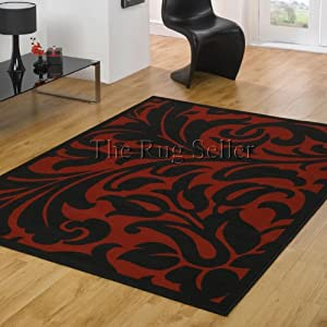 Warwick Damask Rugs in Red Black by Balta