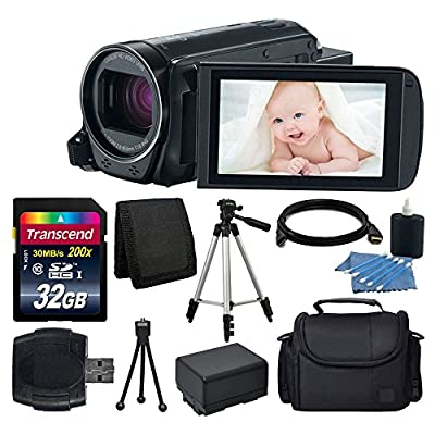 Canon VIXIA HF R700 Full HD Camcorder (Black) + Transcend 32GB SDHC Memory Card + Camera/Video Case + Full Tripod + Camera/Video Case + USB Card Reader + Cleaning Kit + Extra Battery + Complete Bundle