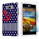 LG Optimus Showtime L86C White Protective Case + Screen Protector By SkinGuardz - Sailor Print