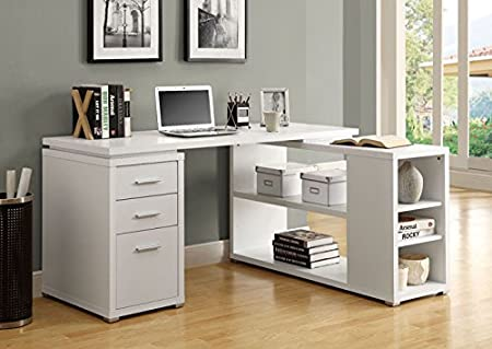 WHITE HOLLOW-CORE LEFT OR RIGHT FACING CORNER DESK (SIZE: 60L X 47W X 30H)