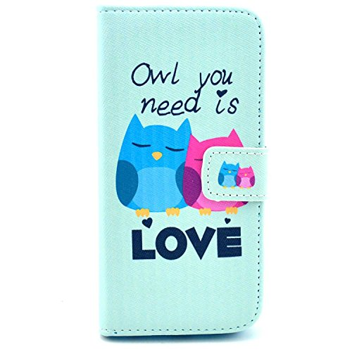 For Apple Iphone 6 Case,nancy's Shop Sparkle Wallet Pu Leather [Stand Feature] Type Magnet Design Flip Protective Credit Card Holder Pouch Skin Case Cover for Iphone 6(4.7-inch)(2014)– (Cute Owl Love)