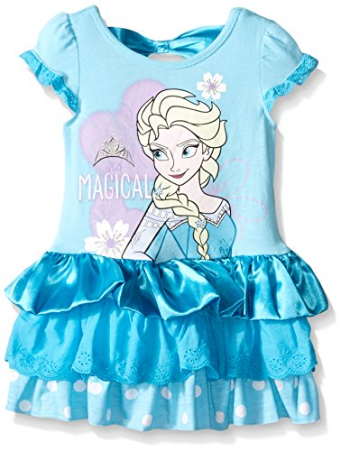 Disney Little Girls' Magical Elsa Eyelet And Satin Dress, Blue, 3T