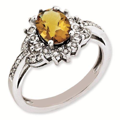 Sterling Silver Genuine Diamond & Whiskey Quartz Ring - Brilliant Colored Gemstones - Jewelry