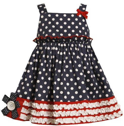 Navy-Blue White Red Polka Dot Ruffle Border Americana Patriotic Dress Nv2Bu, Navy, Bonnie Jean 2T-6X Todders Dress