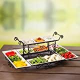 Gourmet Buffet Server with Steel Frame and Six Stoneware Platters (Ivory)