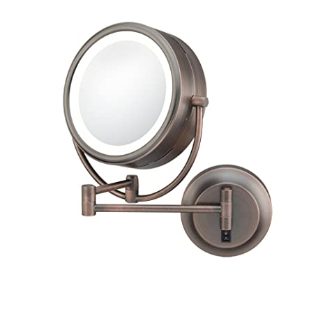 Kimball & Young 92515HW Double-Sided Neo Modern LED Lighted Mirror, Hardwired, 1X and 5X Magnification, Italian Bronze
